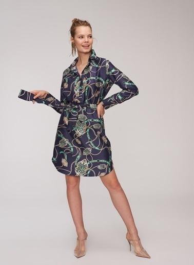 People By Fabrika Zincir Baskılı Elbise Lacivert
